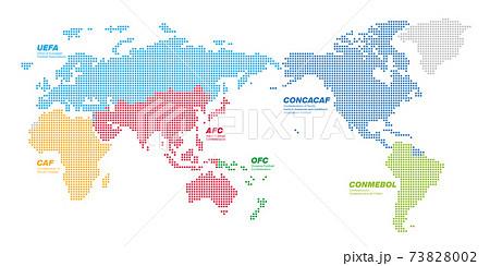 角丸正方形のドットでできた国際サッカー連盟の地図 太平洋中心 文字あり 73828002