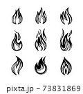 Vector illustrations of fires icon set of monochrome signs in ink hand drawing 73831869