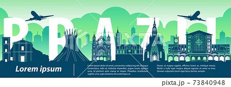 Brazil famous landmark style,big country name inside,vector illustration 73840948
