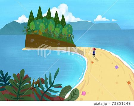 小島と砂浜 73851248