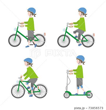 自転車に乗る女の子のセット 73856573