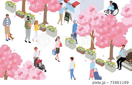 アイソメトリック 人々 春の街並み バナー 73861199