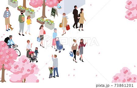 アイソメトリック 人々 春の街並み バナー 73861201