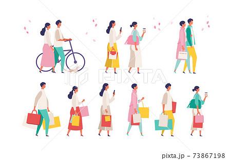 春のファッションの人々イラスト 73867198