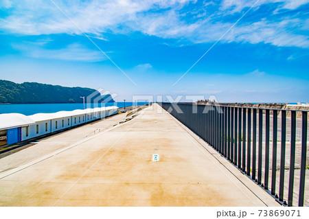 晴れた日の伊豆大島の岡田港ジェット船のりばの風景 73869071