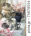 hand painted still life with samovar and teapot 73878554