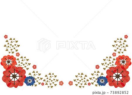 梅の花と蝶の和風ポストカード-赤・青・金色 73892852