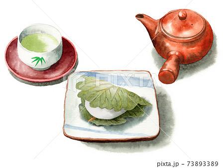 アナログ水彩柏餅と日本茶 73893389