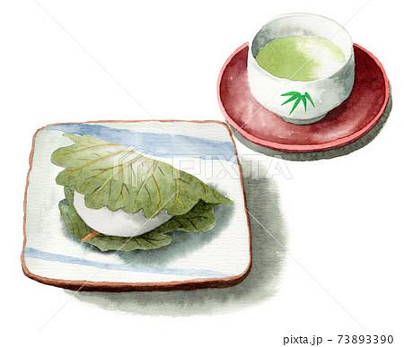 アナログ水彩柏餅と日本茶 73893390