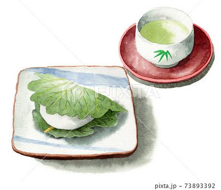 アナログ水彩柏餅と日本茶 73893392