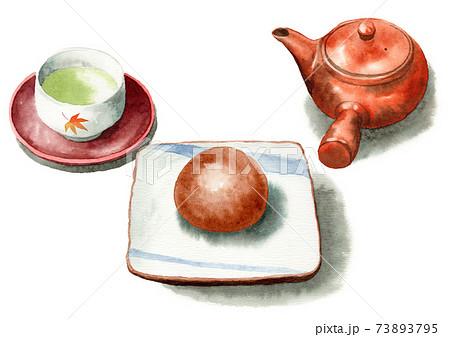アナログ水彩茶まんじゅうと日本茶 73893795