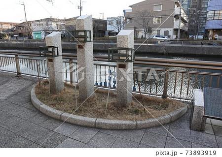 江戸川区新川の歩道に設置された船のモニュメント 73893919