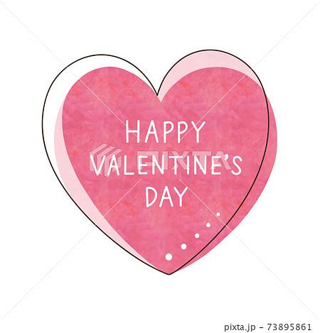 ピンク色のハートと文字【HAPPY VALENTINE'S DAY】 73895861
