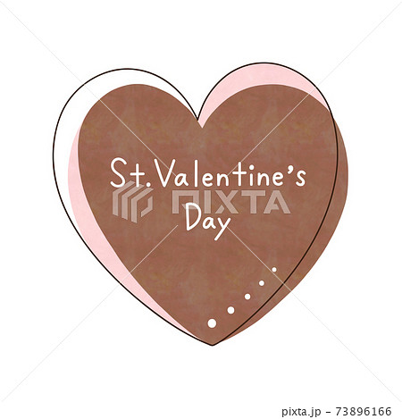 茶色のハートと文字【St. Valentine's Day】 73896166