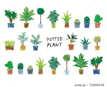 カジュアルなタッチ シンプルなグリーンの鉢植えのイラストセット 73898308