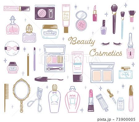 おしゃれかわいいコスメ 化粧道具 手描きイラスト 73900005