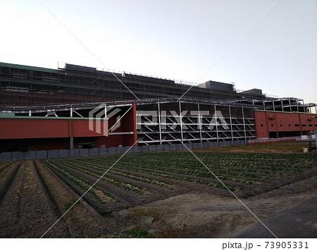 キャベツ畑の向こうに建設中の郊外型大型店舗とえんじ色の立体駐車場 73905331