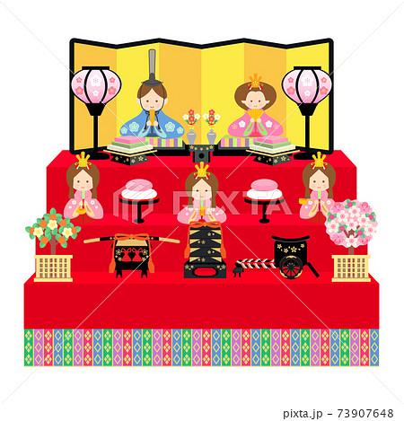 雛人形 五人飾り イラスト 73907648