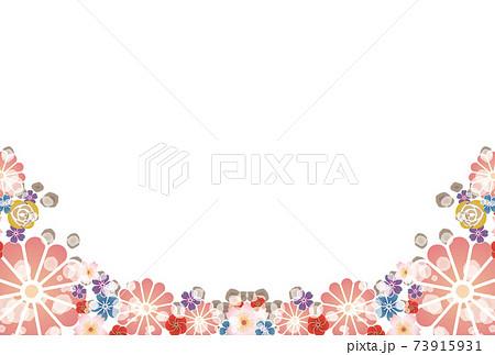 和風の花のイラストフレーム-ピンク 73915931