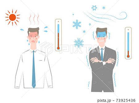 年配でスーツの暑そうな男性と寒そうな男性のセット 73925436
