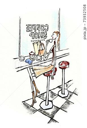 カフェでひとり過ごす働く女性 73932508
