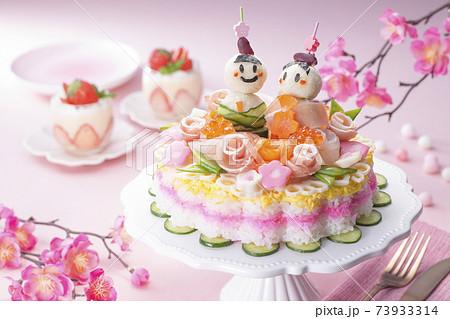 ひなまつり食卓イメージ デコバラちらし寿司 73933314