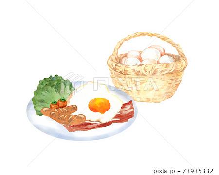かごに入った卵と目玉焼き 水彩イラスト 73935332