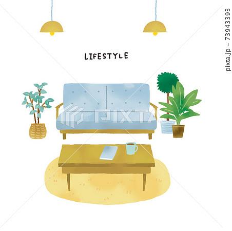 カジュアルなタッチ オシャレな家具のインテリアのイラストセット 73943393