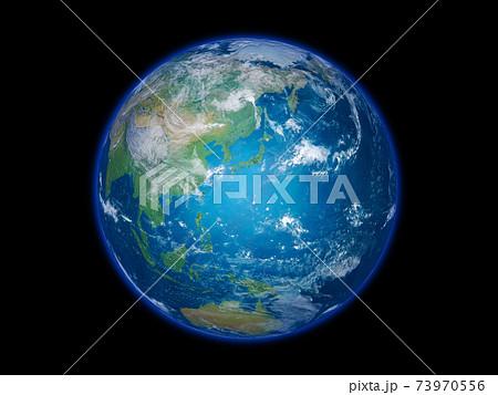 地球 日本列島を中心で背景は黒 73970556