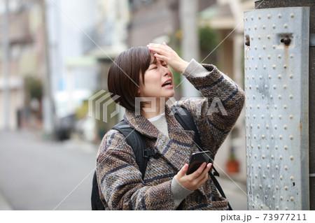 歩きスマホをして電柱に頭をぶつける女性イメージ 73977211
