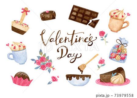 手描き水彩   バレンタイン イラスト セット 73979558
