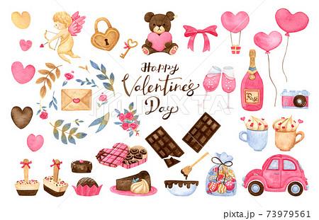 手描き水彩 | バレンタイン ピンク イラスト セット 73979561