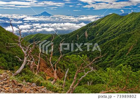 八ヶ岳連峰・キレットから赤岳への登りから見る富士山 73989802
