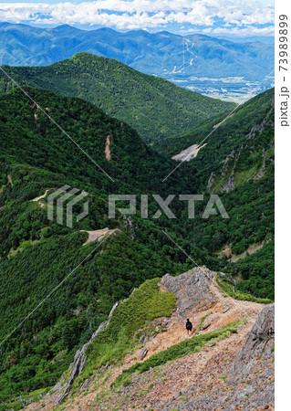 八ヶ岳連峰・赤岳の登りから見るキレットへの登山道 73989899