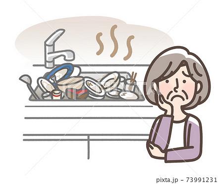 溜まった食器に困るおばあさん 73991231