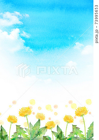 水彩イラスト たんぽぽと青空 73995653