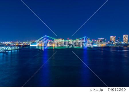 豊洲大橋からレインボーブリッジの夜景 74012260