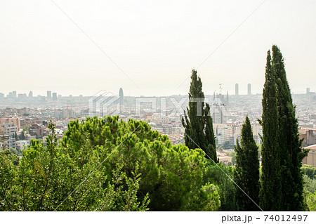 丘の上から見下ろす大きな木々とスペインバルセロナの街並みとサグラダファミリア 74012497