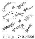 Stylized doodle black and white sketch of the falling star. 74014356
