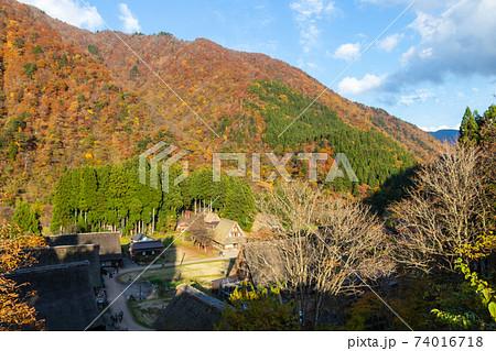 紅葉に染まる山と渓谷にある茅葺き屋根の農村 富山県五箇山 74016718
