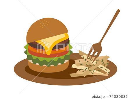 ハンバーガーとポテトのセットイラスト 74020882