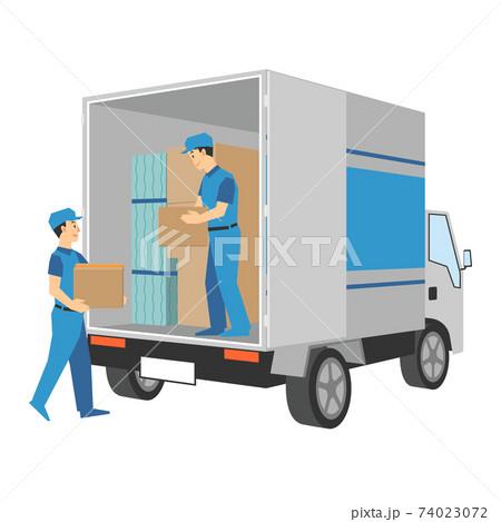 運搬用のトラックと荷物を運ぶ配達業者のイラスト 74023072