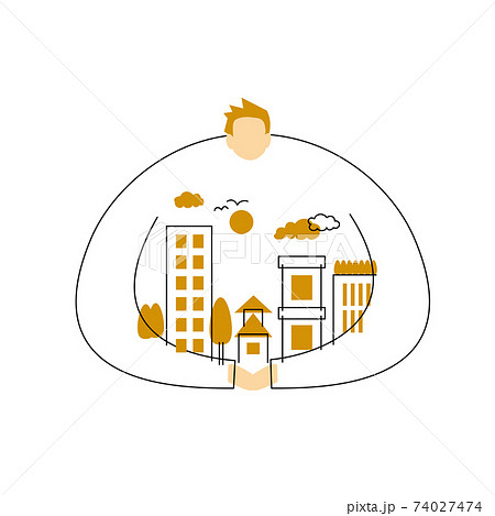 SDGs:目標11「住み続けられるまちづくりを」のイメージイラスト。 74027474