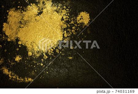 黒の和紙に金色のしぶき模様がある和風背景素材 74031169