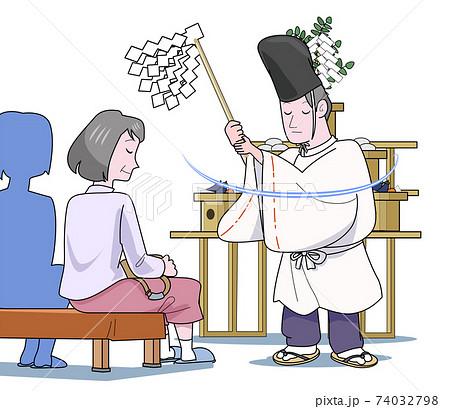 神主に厄除けのお祓いをしてもらう妙齢の女性 74032798