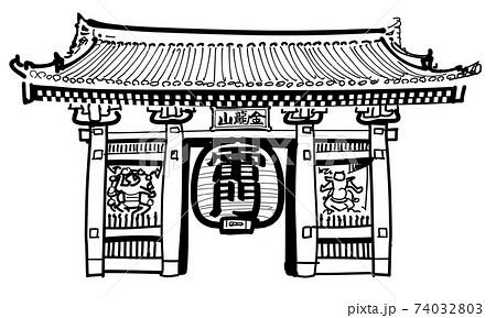 浅草寺の雷門-単体 74032803