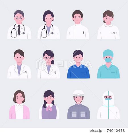 医療従事者のシンプルな顔アイコンセット 着彩 74040458