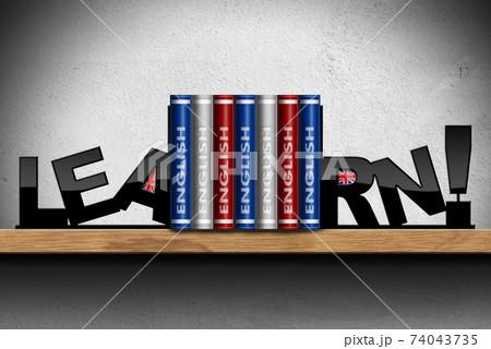 Learn English Language - Shelf with Books and Union Jack Flags 74043735