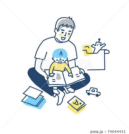 膝の上で抱っこしながら絵本を読む父と男の子 74044431