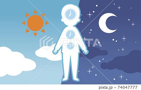昼と夜の背景と体内時計 74047777